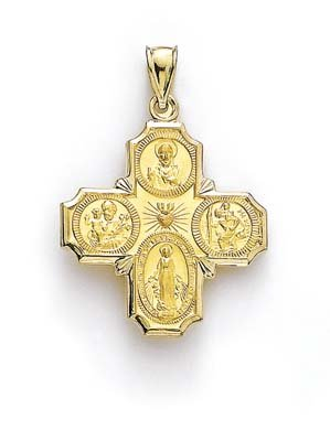 4 positions Large 14 carats-Pendentif Médaille JewelryWeb