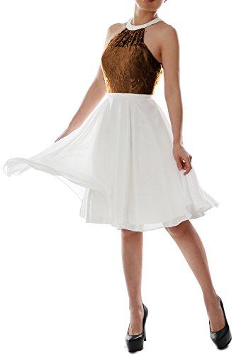 MACloth Women Halter Lace Short Wedding Party Bridesmaid ...