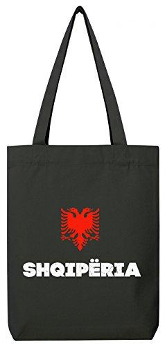 ShirtStreet Länder Wappen Tirana Länder Premium Bio Baumwoll Tote Bag Jutebeutel Stanley Stella Flagge Albanien Black AwyLj