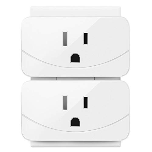 Enther Wi-Fi Smart Plug, Mini Wireless Outlet 2 Pack, Works with Amazon Alexa & Google Home, Remote Control Your Devices from Anywhere, No Hub Required, ETL and FCC Listed, White
