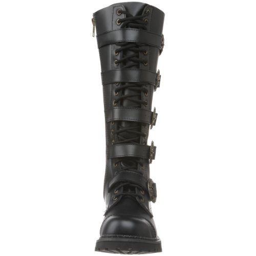 Demonia Steam-20 - gothic punk industrial steampunk leather boots shoes 3,5-13 Blk Leather