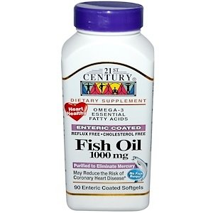 21st Century Fish Oil 1000mg, 90 Enteric Coated Softgels Each (Pack of 2)