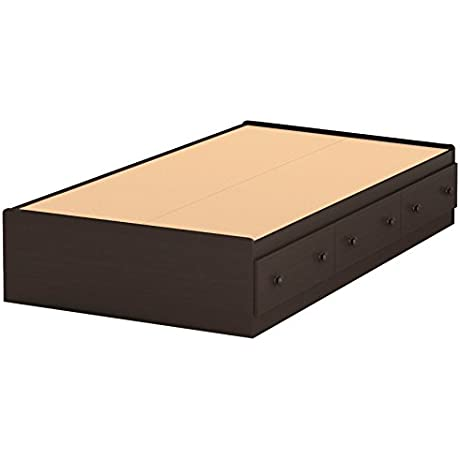Summer Breeze Collection Twin Bed With Storage Platform Bed With 3 Drawers Chocolate By South Shore