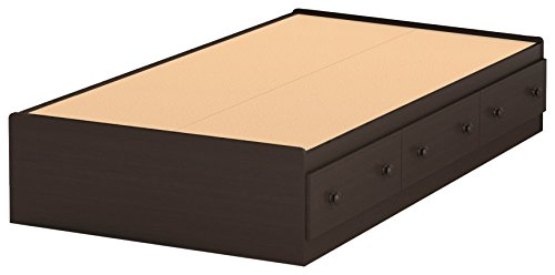 South Shore Summer Breeze Collection Twin Bed with Storage - Platform Bed with 3 Drawers - Chocolate by