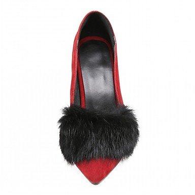 Talones de las mujeres de cuero Primavera Otoño Comfort oficina y carrera vestido casual estilete del talón Negro Rojo Red