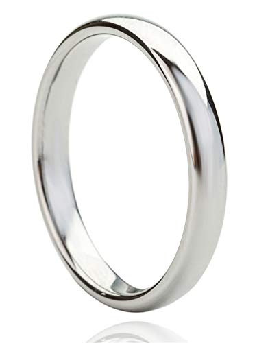 Just Lsy 3mm Tungsten Wedding Band Ring Men Women Plain Dome High Polished Comfort Fit Size 7.5 -