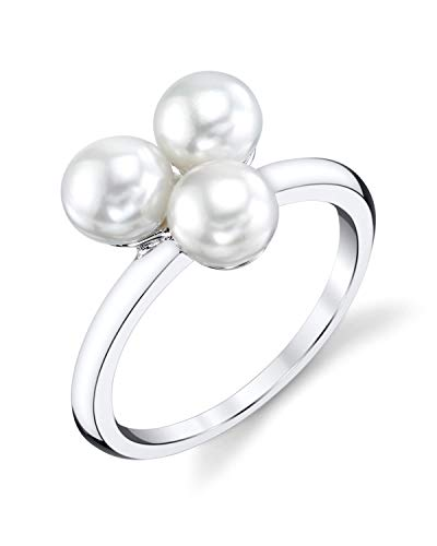 THE PEARL SOURCE 5-6mm Genuine White Freshwater Cultured Pearl Esther Ring for Women