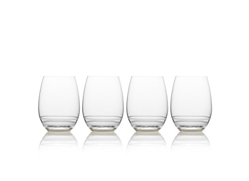 Mikasa Lux Platinum Stemless Wine Glass, 21.75-Ounce, Set of 4