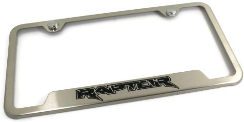 Au-Tomotive Gold, INC. DanteGTS Ford Raptor Stainless Steel License Plate Frame Laser Etched Brushed Stainless Made in USA Frame Satin Matte