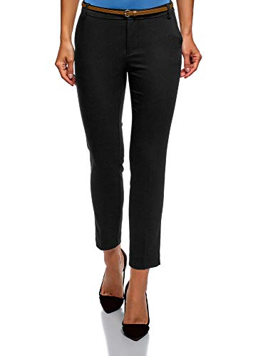 Collection Donna oodji Pantaloni Cintura Nero Cropped con 2900n wBqqU7