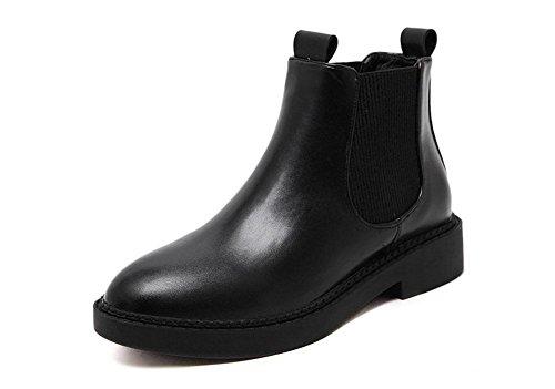 kuki-women, STIEFELETTEN, Damen Schuhe, STIEFEL, BOOTS, Martin Stiefel, britischen Stil, Plattform, Freizeit schwarz