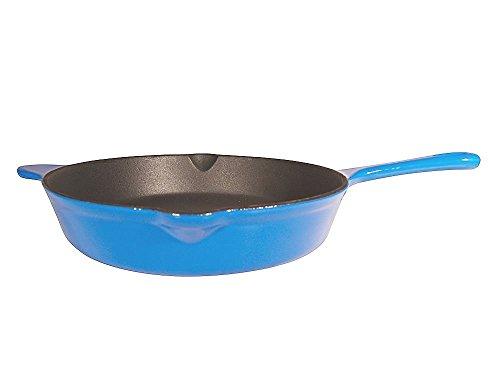 Le Chef Blue Enamel Cast Iron Deep Skillet 12-Inch.