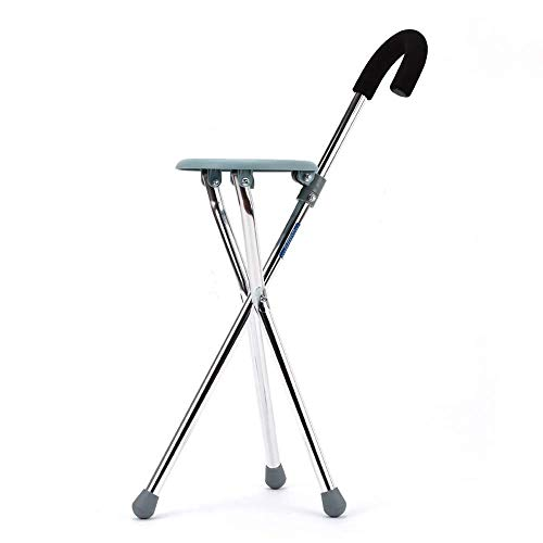 - Stainless Steel Three-Legged Walking Stick Cane StoolDisability Medical Aid Folding Seat Cane (Walking Stick & Chair Seat)