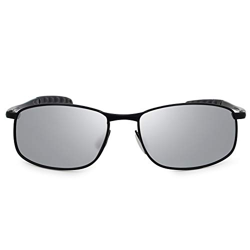 Para Gafas Sol Negro Hombre AMZTM Deportivas Gafas De Plateado Polarizadas EHqdPwf