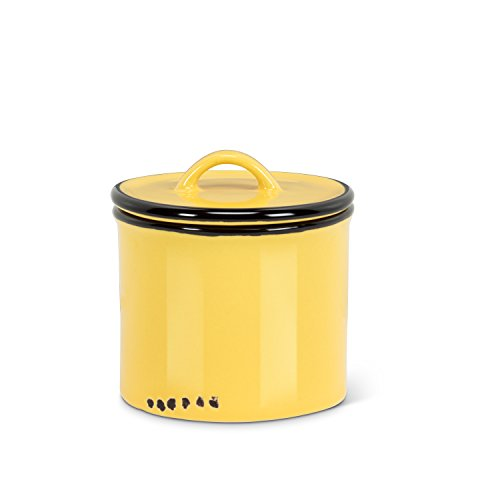 (Abbott Collection 27 YLW Enamel Look Jar with Lid, Yellow)