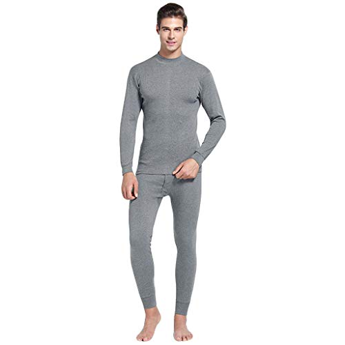 - 2019 Latest Hot Style! Teresamoon Men's Casual Thermal Underwear Middle Collar Pure Color Warm Clothing Suit