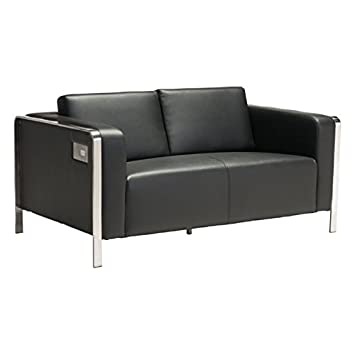 Amazon.com: brika Home Piel Sintética Loveseat en negro ...