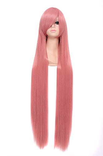 Icoser 100cm Long Straight Synthetic Hair Anime Cosplay Party Wigs for Women (Pink)