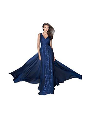 Women Plus Size Cocktail Long Dresses Elegant V-Neck Sleeveless Formal Evening Maxi Dress Blue ()
