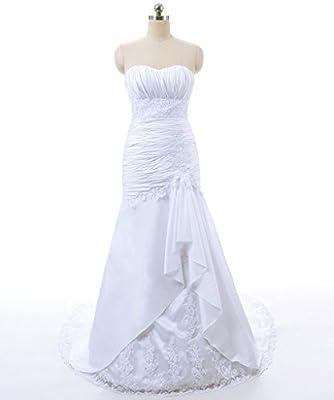 Vantexi Women's Strapless Taffeta Mermaid Wedding Dress Bridal Gown