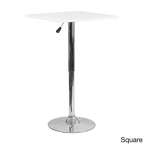 Offex 23.75'' Adjustable Height White Wood Pedestal Table - 23.75'' W x 23.75'' D x 40.5'' H Round by Offex (Image #2)