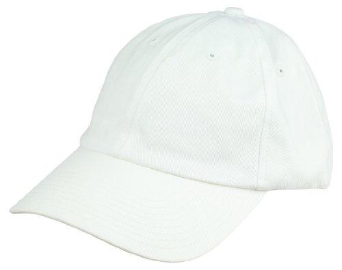White Cotton Cap (Dalix Unisex Unstructured Cotton Cap Adjustable Plain Hat,)