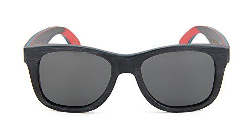 hombre polarizadas UV 400 sol madera Gafas negras y de unisex NATURJUWEL mujer Skateboard qxnwZXPBY