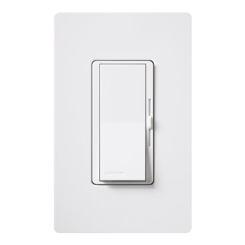 Lutron Diva Dimmer Switch for Halogen and Incandescent Bulbs, 600-Watt, Single-Pole or 3-Way, with Wallplate, DVW-603PH-WH, White (Pole Watt 600 Single Incandescent)