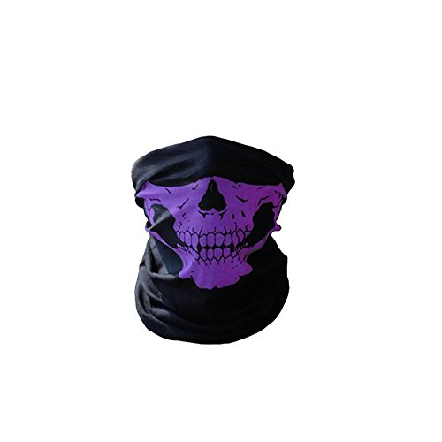 Skull Mask for Raves, Aosmart Skeleton Seamless X Ray Bandana Face Mask for Dust, Motorcycle Riding, Outdoors (Purple) (Purple Face)