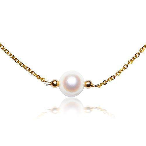 10K Yellow Gold Choker Necklace Handmade with Stunning White Freshwater Single Pearl, Simple and Beautiful Necklace, 16 Inch Chain with Lobster Clasp