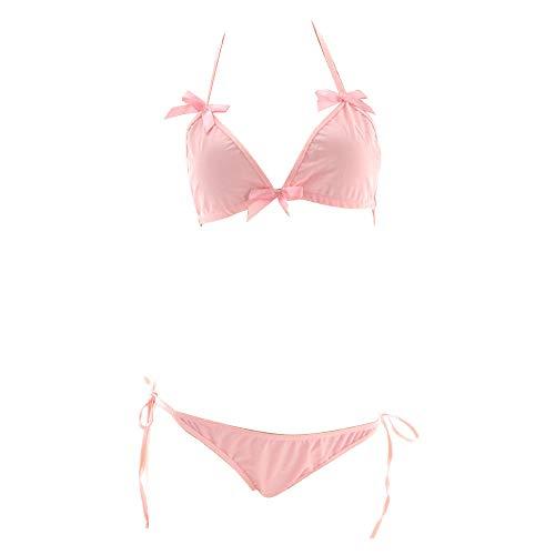 0f38928f101 YOMORIO Lolita Cute Bows Bra and Panty Set Kawaii Anime Cosplay Underwear  Strappy Bikini Lingerie Pink
