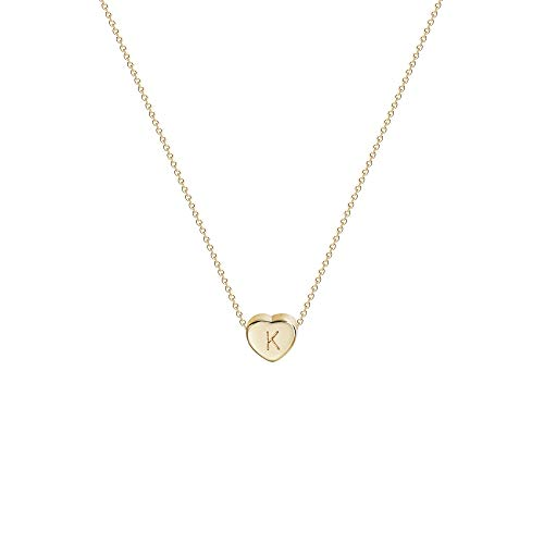 Tiny Gold Initial Heart Necklace-14K...