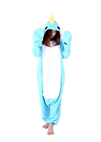 Jormarcos Adult Unisex Animal Cosplay Pajamas Narwhal Costumes Homewear Onesie -