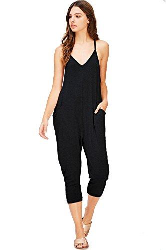 In Pants Mint Black (Wasabi & Mint Women's Terry Cloth Cropped Leg Jumpsuit (S, Black))