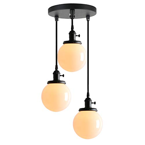 """Phansthy Industrial Chandelier Lighting Vintage 3-Light Pendant Light with Three 5,9"""" Warm White Globe Glass Lampshade"""