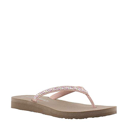 (Skechers Women's Meditation-Perfect 10-Square Rhinestone Embellished Thong Flip-Flop, Blush, M US)