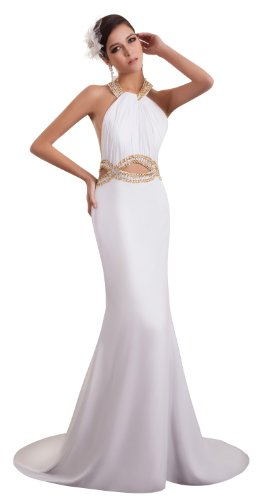Charmeuse Stretch Halter Dress (ImPrincess ip4-6060-8 Wedding Dress Elegant Style Halter Sleeveless Open Delicate Beading Ruched Long Court A-line White)