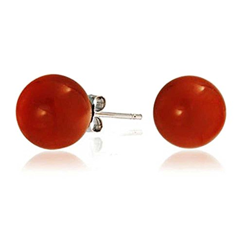 Simple Dyed Red Natural Coral Ball Round Stud Earrings For Women 925 Sterling Silver 10MM