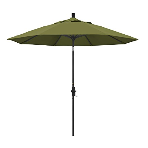 California Umbrella 9' Round Aluminum Market Umbrella, Crank Lift, Collar Tilt, Black Pole, Pacifica Palm