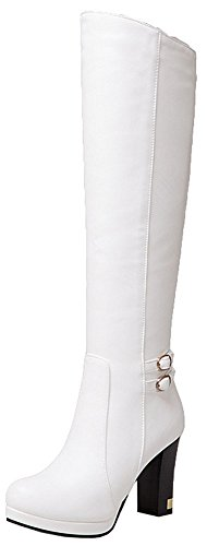 Easemax Women's Sexy Round Toe Side Zipper Martin High Chunky Heel Knee High Booties White GHjH8FjJWc