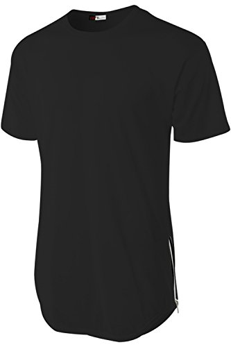Hat and Beyond Men's Hipster Long Line Plain Hip Hop Soft Casual T-Shirts W/Zipper Trim (Small, 1RD0003 Black)