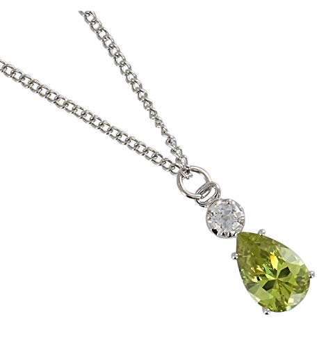 Green Pear Shape Rhinestone Crystal Pendant For Women