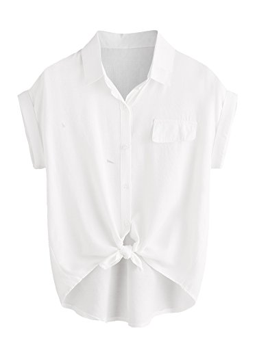 Shein Womens Plain Lapel Collar Rolled Sleeve Knotted Front Blouse White Medium