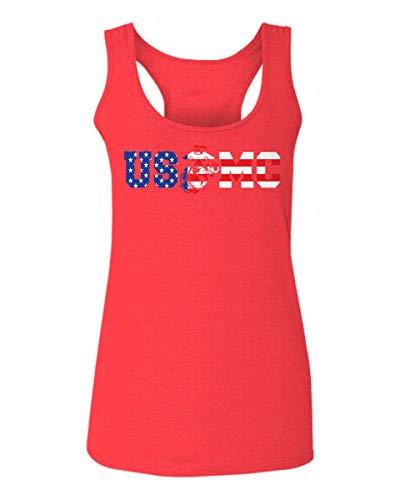 Marine Corps Tank - VICES AND VIRTUESS USMC Marine Corp Seal American Flag Logo USA America Women's Tank Top Sleeveless Racerback (Heather Red, Medium)