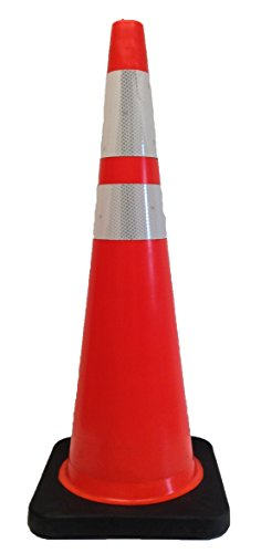 USA-Sign TC2-36W/12-T6B4-R TC2 Series Injection-Molded Traffic Cone With Top 6'' and Bottom 4'' Hi-Intensity Collar, Wide-Body / Recessed, Fluorescent Orange/Black Base, 36'' Height, 12 lbs Weight by USA-Sign