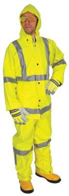 (River City Garments 3X Fluorescent Lime Luminator .38 mm Polyester And PVC Flame Resistant 3 Piece Rain Suit With Silver Reflective Stripes (Includes Jacket With Front Snap Closure, Detached Hood And Snap Fly Bib Pants))