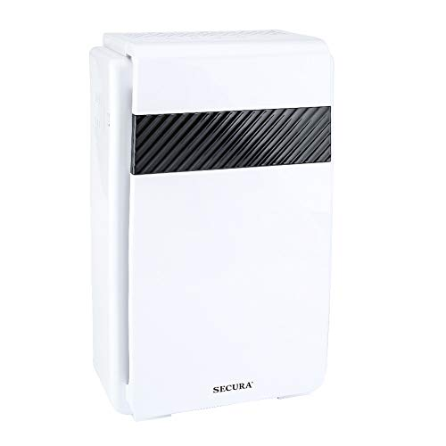 Secura 5-in-1 HEPA Air Purifier Cleaner, CADR 218 m³/ Hour Home Air Quality Monitor, Allergen Eliminator Air Cleaner for Large Rooms, Home, Eliminates 99.97% of Dust & Pollen, Smoke and ()