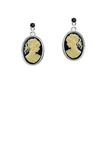 Small Black Oval Cameo Black Crystal Post Earrings (Cameo Framed Earrings)