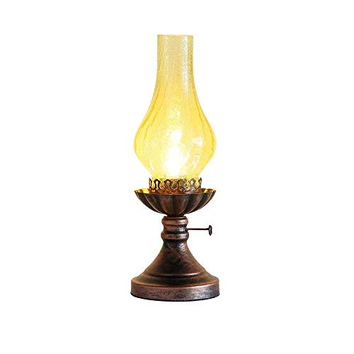 Wsxxn E27 Table lamp, American Village Wrought Iron Retro Restaurant Cafe Table Lamp Old Fashioned Kerosene lamp Livingroom Bedroom Bedside Desk Light