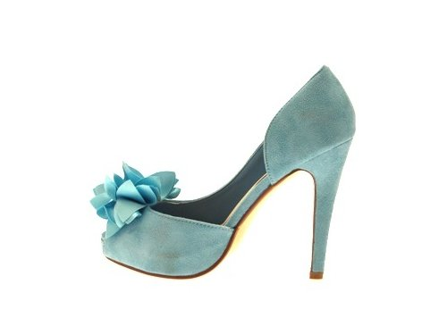 WOMENS FLOWER PASTEL PEEP TOE FAUX SUEDE PLATFORM OPEN SIDED STILETTO HEEL SHOES LADIES AQUA BLUE SIZES 6 vwZUgf